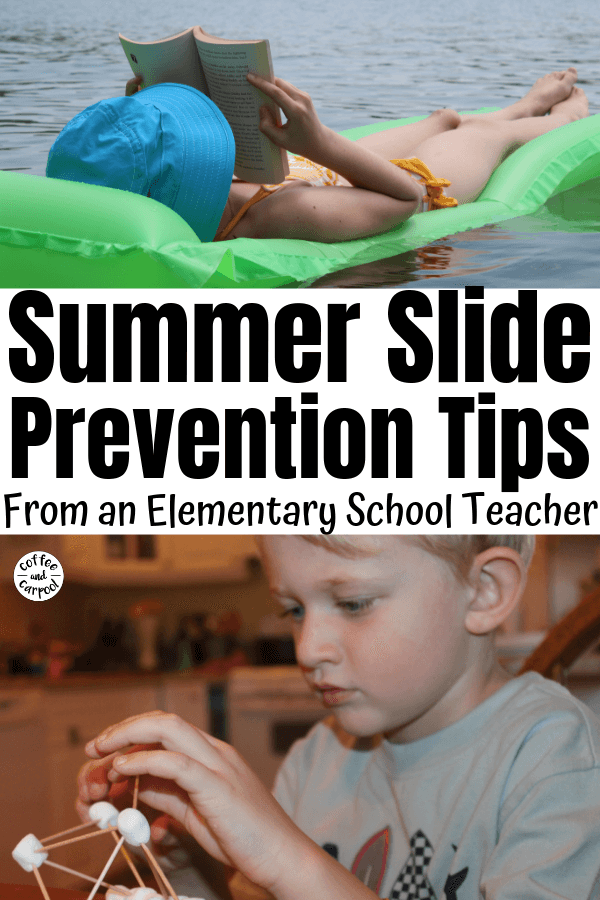 How to Prevent a Summer Slide and Set your kids up for success in the fall by not letting them fall behind and forget what they've learned. #summerlearning #summerslide #summerfun #summerroutine #coffeeandcarpool #summerreading