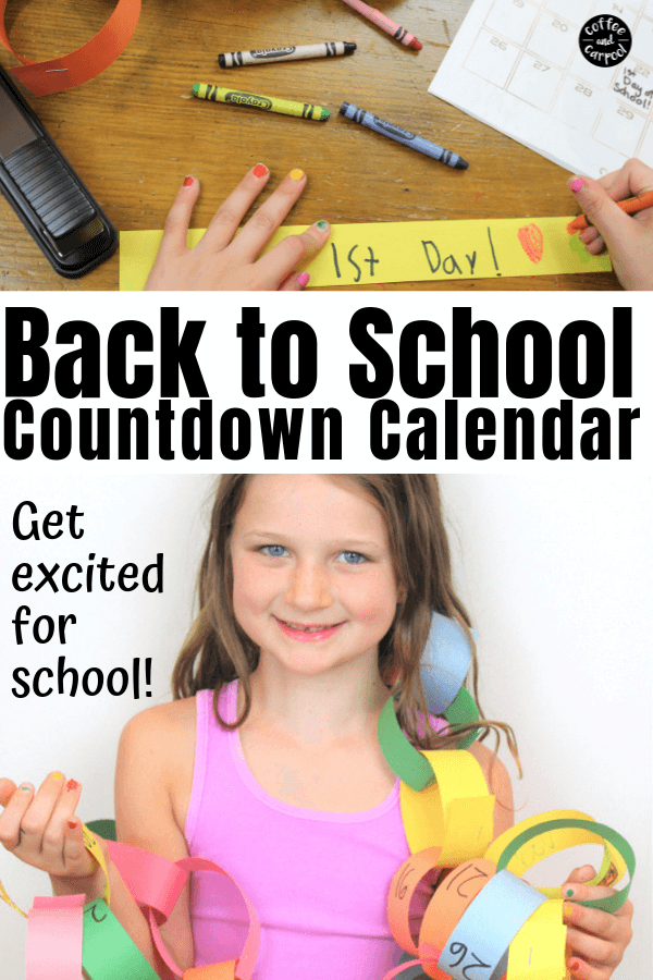 Get kids excited for school with this countdown to back to school paper chain. It's one of the perfect summer activities for kids as summer vacation ends and fall begins. Generate back to school excitement with this back to school craft #backtoschool #paperchain #countdown #countdowncalendar #paperchaincountdown #backtoschoolactivities #summeractivities #backtoschoolexcitement