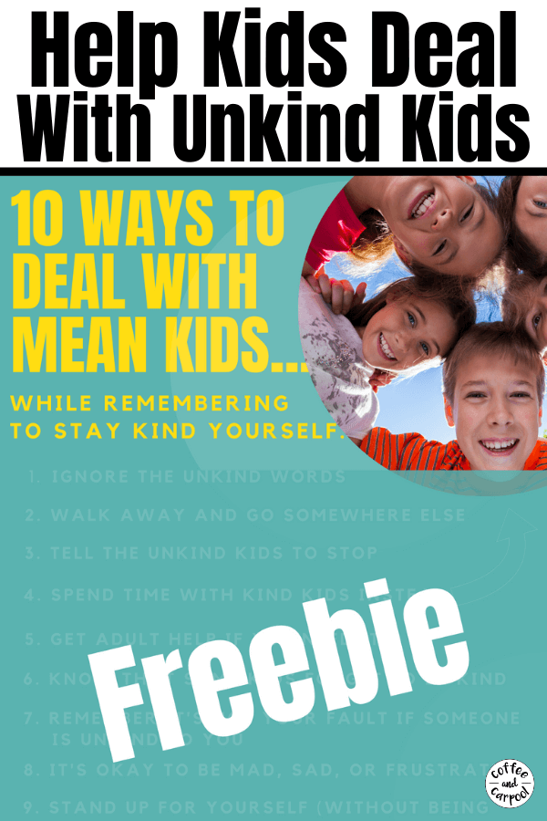 Help your kids deal with mean kids and unkind kids with these 10 strategies your kids can use on the playground, or when they're dealing with peers. #unkindkids #kindness #teachingkindness #kindkids #kindnessmatters #bullying #meankids #meangirls