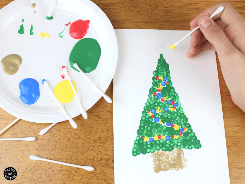 Paint the star with yellow paint dots on this Christmas art with Pointillism paroject