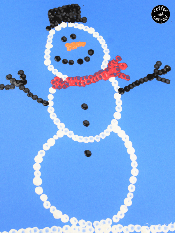 snowman art with pointillism