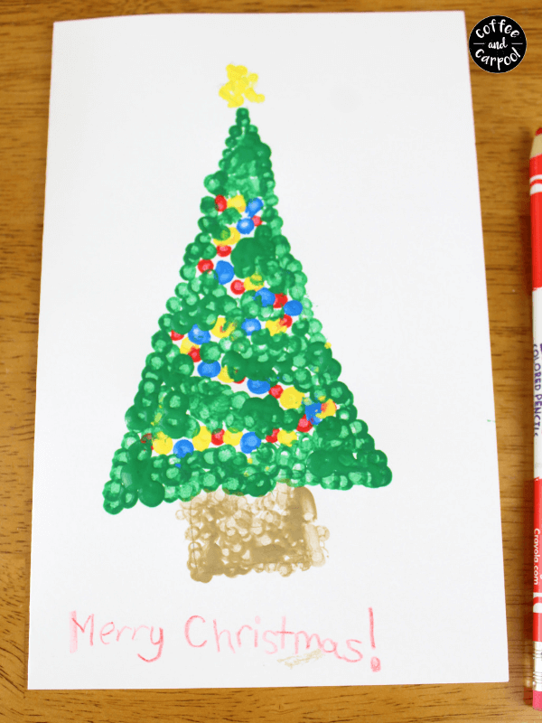Write Merry Christmas on the Christmas Art with Pointillism card