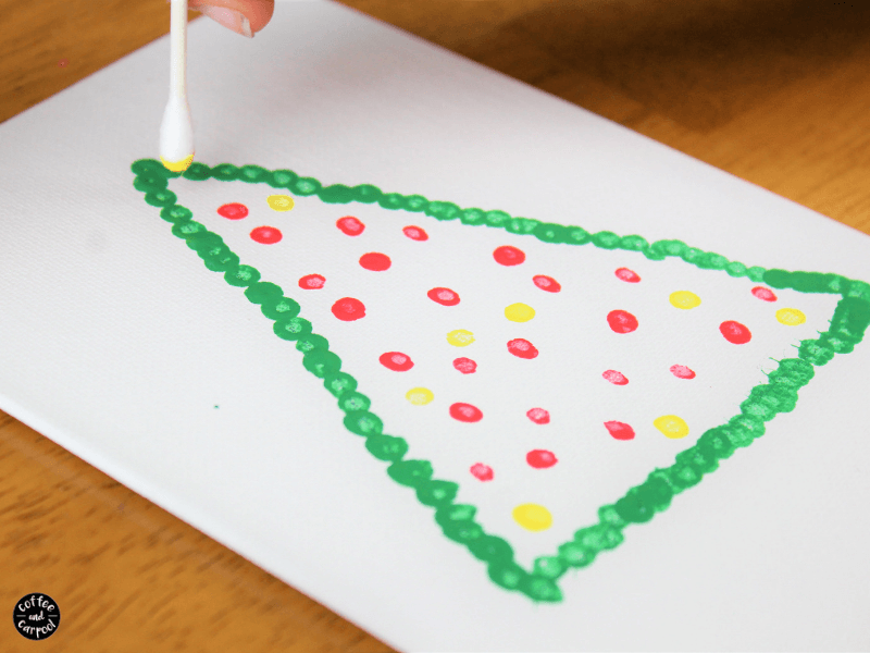 dots for Christmas lights for Pointillism Christmas art