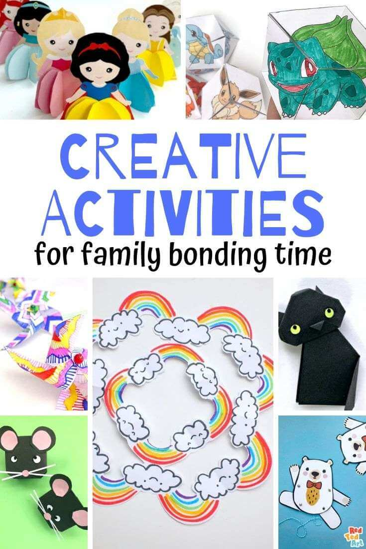 Family Bonding Time Ideas that don't involve game night or movie night...try craft night that's perfect for families with different ages. Use these 10 craft ideas to connect as a family. #familyconnection #familybonding #familybondingideas #familyactivities #craftideas #craftingforkids #papercraftsforkids #creativeactivities