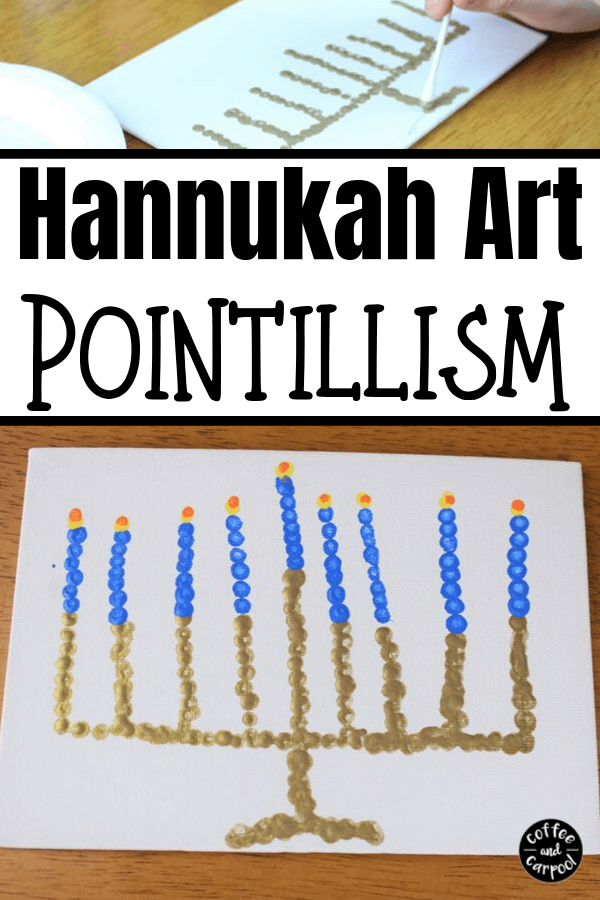 Celebrate Hanukkah with this Hanukkah art project using dots to create a menorah. #Hanukkah #Chanukkah #Hanukkahcraft #Hanukkahart #Hanukkahactivities #Hanukkahactivitiesforkids #interfaith #Jewishcrafts #Jewishprojects #Jewishactivities