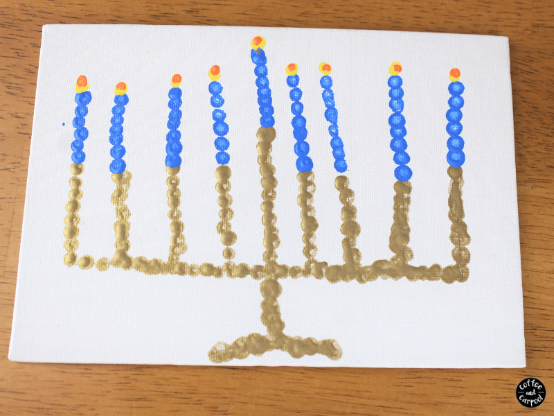 Finished menorah with pointillism