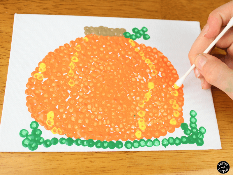 Pumpkin pointillism art project perfect for fall