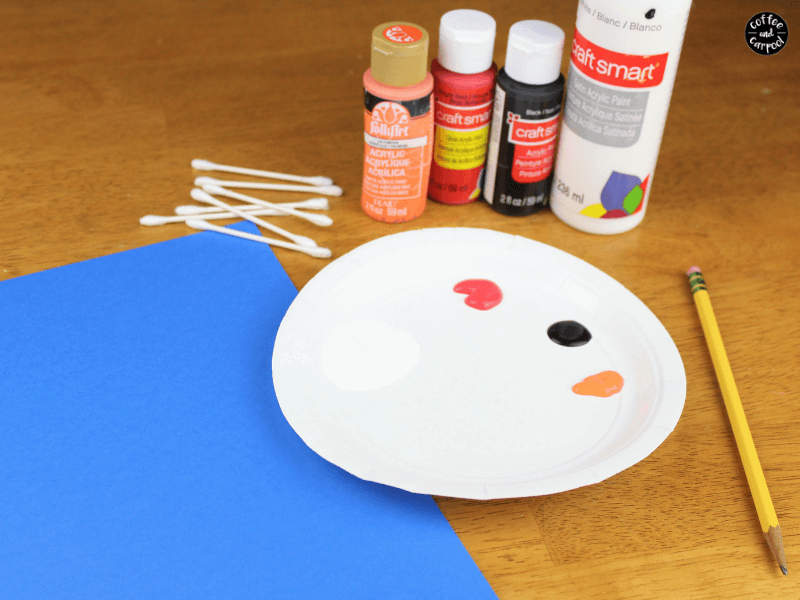 Snowman art pointillism supplies