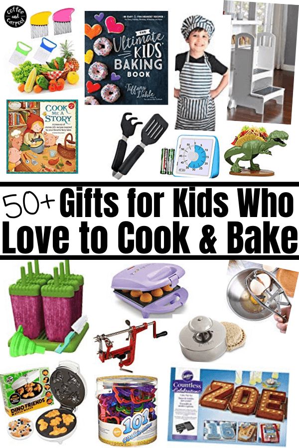 Gifts for kids who love to cook and bake...get kids in the kitchen more often with kid-friendly kitchen tools and kid cookbooks and kid aprons #kidcooking #kidbaking #kidsgifts #giftguide #giftsforkids #kidchefs #kidbakers
