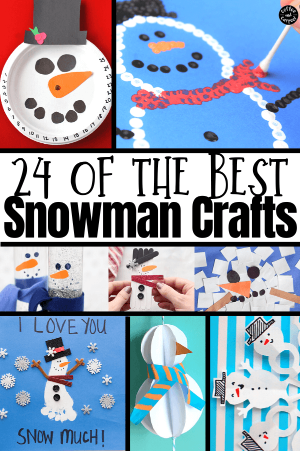 Best snowman crafts perfect for winter activities when it's too cold to go outside and make actual snowmen #winteractivities #wintercrafts #snowmen #snowman #snowmancrafts #snowmencrafts #winteractivitiesforkids #wintercraftsforkids #coffeeandcarpool