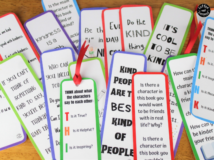 These kindness bookmarks will encourage kids to be kind while reading kindness books and books with characters who aren't so kind. These kindness bookmakrs for kids are interactive and great for classrooms, school libraries, public libraries and for families #kindnessbookmarks #kindnessbookmarksforkids #kindnessactivitiesforkids #kindnessactivities #booksmarksforschoollibrarians