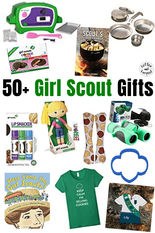 50+ Girl Scout Gifts to purchase for your favorite Girl Scout #girlscouts #girlscout #giftsforgirls #coffeeandcarpool