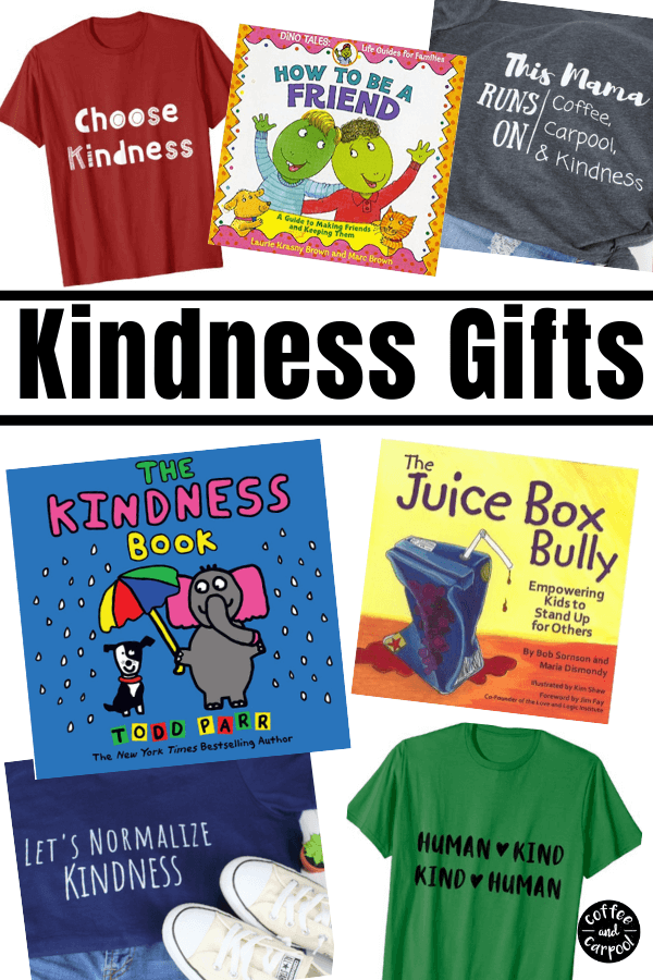 Kindness Gifts perfect for families to give to each other for the holidays. Gift ideas for kids can be hard to find but these kindness gifts are perfect for Christmas, Hanukkah and birthday gifts. #Christmasgifts #giftsforkids #giftideasforkids #kindnessmatters #kindkids #kindnessideas #Christmasgiftideas #giftlists #coffeeandcarpool