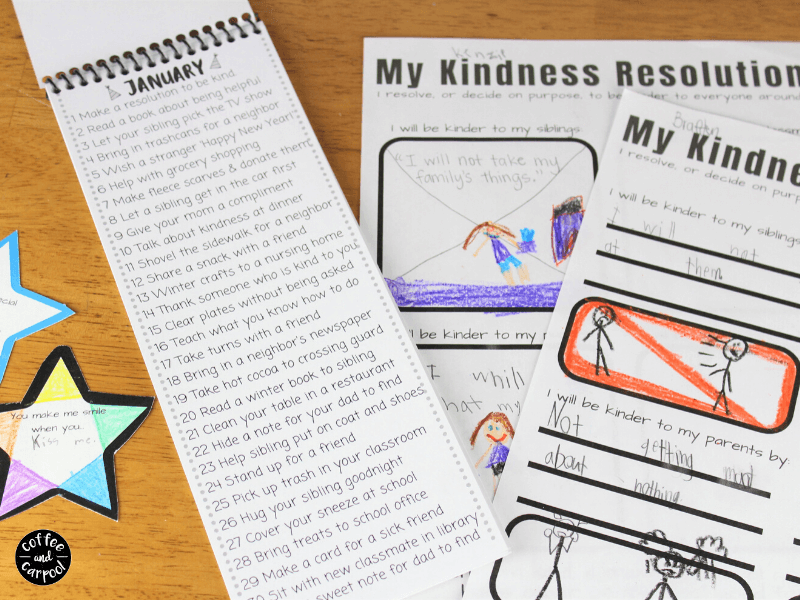 365 days of kid-friendly kindness activities to do with your family in an easy to use, reusable family kindness calendar because kindness matters. These kindness activities for kids are easy to do with this reminder. #kindnessactivities #kindnesscalendar #365daysofkindness #kindness #kindkids #raisingkindkids #kindnessactivitiesforkids #coffeeandcarpool