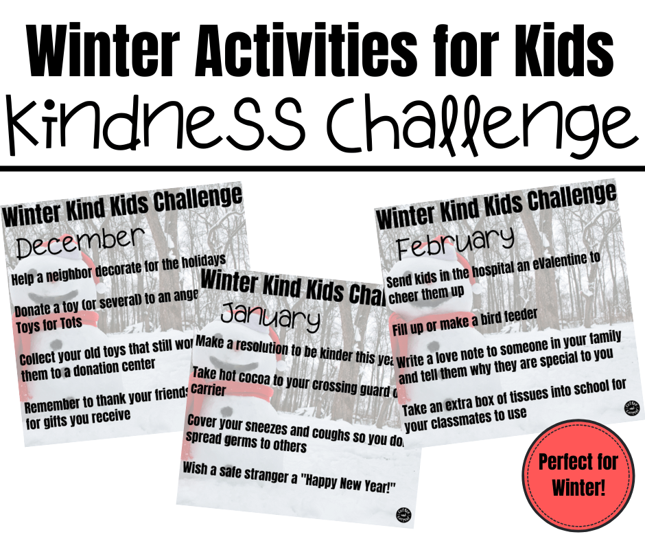 This winter kind kids challenge will help kids be kinder to those around them. This is perfect for December kindness activities for kids. #kindnessactivities #kindnessactivitiesforkids #kindkids #kindnessmatters #kindnesschallenge #kindnesschallengeforkids #winteractivitiesforkids