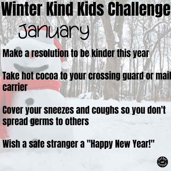 This winter kind kids challenge will help kids be kinder to those around them. This is perfect for January kindness activities for kids. #kindnessactivities #kindnessactivitiesforkids #kindkids #kindnessmatters #kindnesschallenge #kindnesschallengeforkids #winteractivitiesforkids