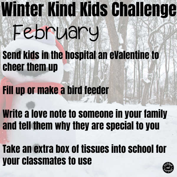 This winter kind kids challenge will help kids be kinder to those around them. This is perfect for February kindness activities for kids. #kindnessactivities #kindnessactivitiesforkids #kindkids #kindnessmatters #kindnesschallenge #kindnesschallengeforkids #winteractivitiesforkids