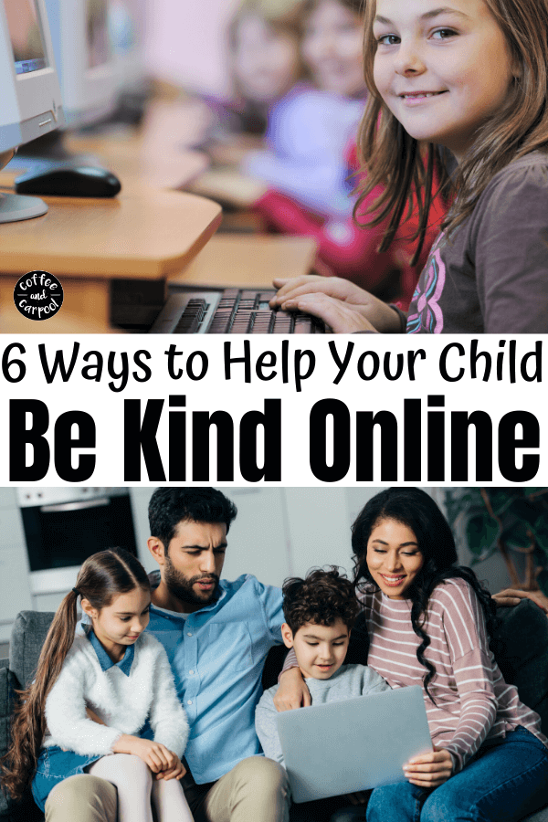 6 ways to help your kids be online and prevent and deal with cyberbullying. Spread kindness in this digital age and teach social etiquette to your kids now so they know how to handle themselves online when they're older #cyberbullying