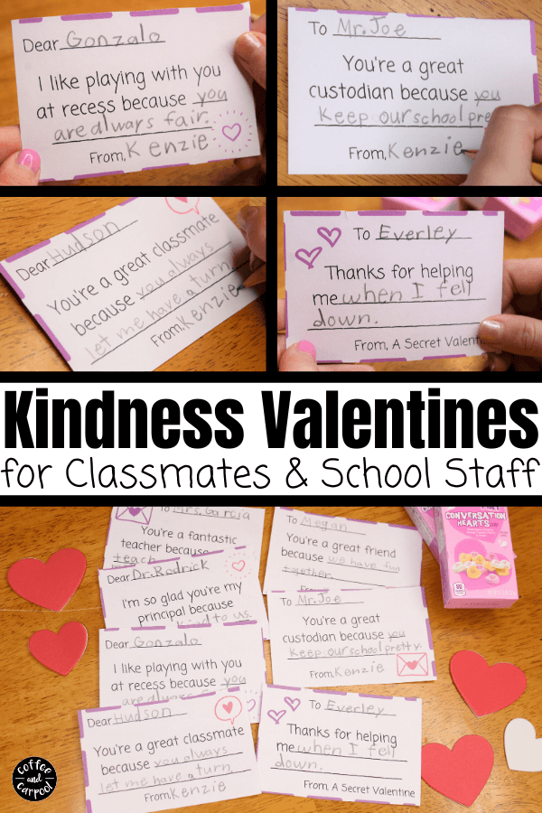 Spread kindness this Valentine's Day with these kindness valentines for your classmates and for teachers, principals, and aides at school. February will be kinder with these Kindenss Valentine's Day Cards #valentinesday #valentine'sdaycards #valentines #printablevalentines #kidvalentines #valentinesforclassmates #valentinesdayprintables