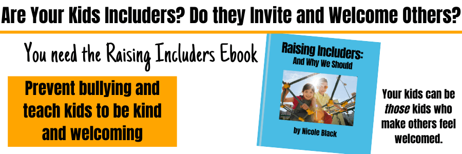 This includer ebook will help you and your kids be includers and welcomers. A child who includes others bully-proofs other children and helps them feel connected with one other person. Its' the highest form of kindness there is. #kindness #kindnessmatters #kindkids #includers #inclusion #includingothers #kindnessiscool