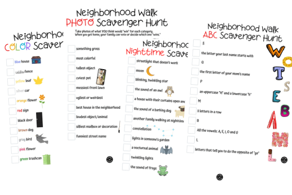 When you go on your next family walk, take one of these printable neighborhood walk scavenger hunts to make the family walk more fun.