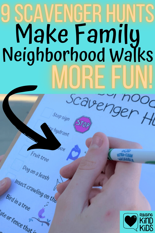 9 free printable neighborhood scavenger hunts for family walks around the neighborhood to have more fun #familywalks #scavengerhunts #scavengerhuntprintables #familytime #familywalks #neighborhoodtime