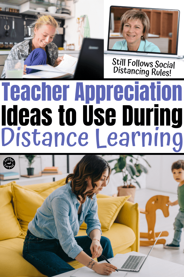 Teacher appreciation ideas to thank teachers during distance learning and the quarantine during covid-19. We can still thank and appreciation teachers during this pandemic with social distancing and safe teacher appreciation ideas. #teacherappreciation #distancelearningsocialdistancing #teacherappreciationdistancelearning