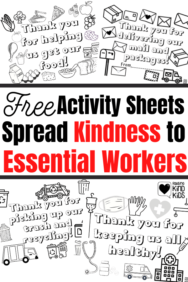 These free kindness activities for kids has over 20 printable sheets and coloring pages. They are a perfect way to help kids thank essential workers during the Covid-19 quarantine. Spread kindness and thank our essential workers who make our every day lives easier and safer. #kindness #covid19kindness #thankessentialworkers #essentialworkers #thankessentialworkers #thankyouessentialworkers #essentialworkersappreciation