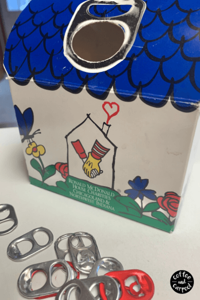 Collect pop tabs for the Ronald McDonald House as a easy social distance kindness activities #kindnessactivitiesforkids #kindnessactivites #