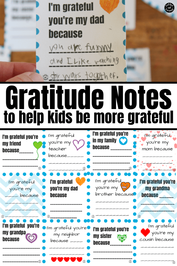 Help kids be more grateful with these gratitude notes that will help them show their appreciation for the things in their life they do have. Appreciation notes can be written on and then given to family, friends and teachers to show how much our kids are thankful for them. #gratefulkids #gratitude #appreciation #teachinggratitude #entititledkids