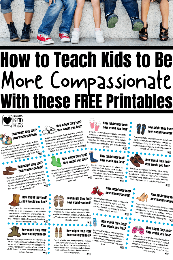 Teach compassion to kids with these 5 social emotional strategies, including this free printable to start the conversation about empathy and compassion. If you're wondering how to teach compassion to your kids, these are the teaching tools you need for social emotional learning. #selactivities #socialemotionallearningactivities #socialemotionallearning #compassion #socialemotionalactivities