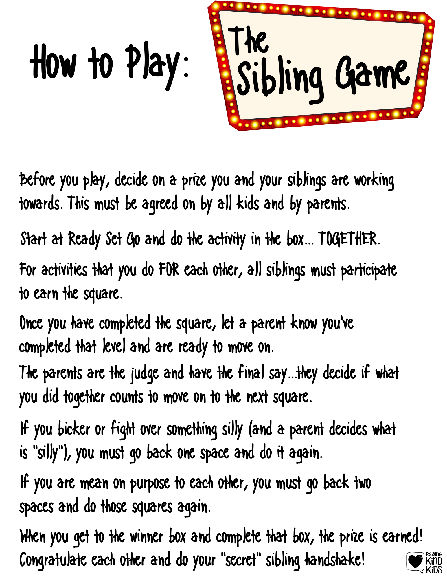 If you're looking for ideas for teaching siblings to be kind to each other this sibling kindness game will help! It sets them up to be on the same team, to work together for a common goal na dhelps them be kind to siblings daily. #siblings #raisingsiblings #siblingkindness #beingkindtosiblings #beakindsibling
