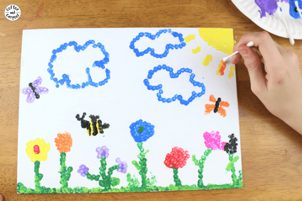 These nature art paintings with pointillism are fun for projects for kids. They can make rainbow art or flower art with butterflies #natureartproject #natureartpainting #paintingproject #natureart #rainbowpainting #flowerpaintingforkids
