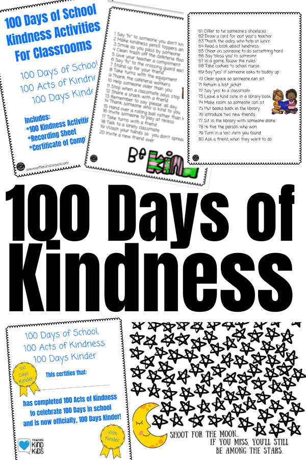 Get more kindness into your classroom and your sel curriculum with this 100 Days of Kindness Activities to make kindness more of a habit #kindnessactivitiesforkids #kindnessactivities #sel #selcurriculum #100daysofschool #100thdayofschool