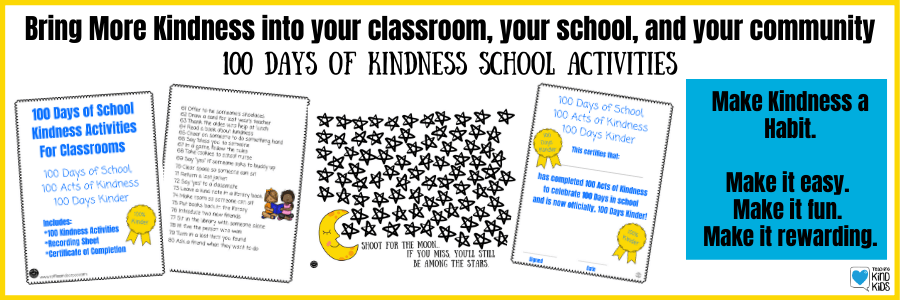 100 day of kindness activities for schools to help kids be kind at school, at home and in their community more often. Make kindness a habit by assigning acts of kindness each day.