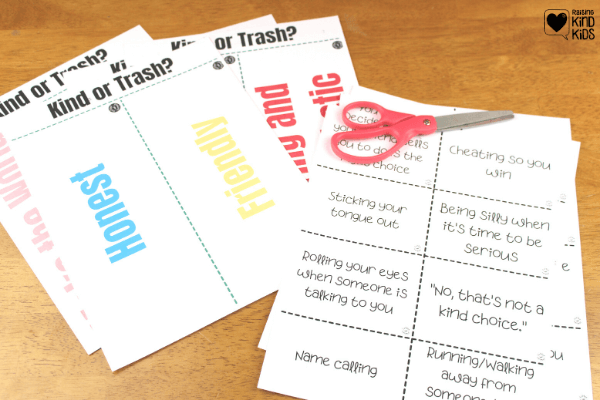 This Trash or Kindness Game is a great way to talk to kids about kindness and create more kind kids. Kindness activities for kids don't have to be boring. This is perfect sel curriculum for morning meetings or for family dinners because kindness is essential #kindnessactivities #kindnessactivitiesforkids #kindclassroom #sel #selcurriculum
