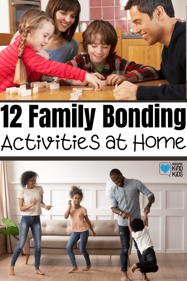 These 12 family bonding activites at home are the perfect way to stay indoors but connect as a family. These family fun ideas at home will help you build a strong family identity and focus on what's really important: family.