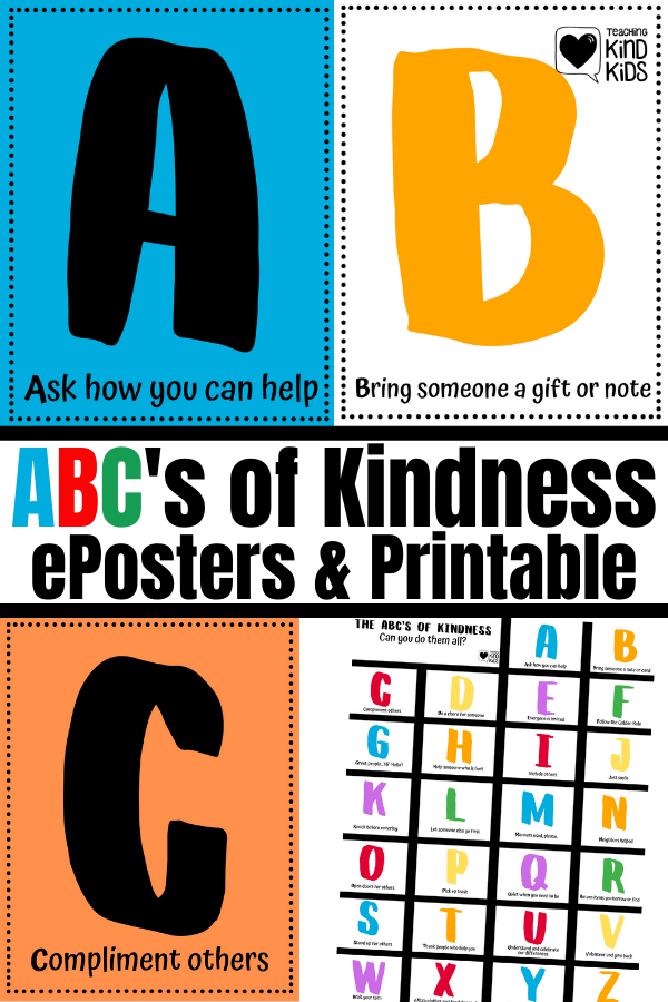 These ABCs of Kindness are the perfect addition to your sel curriculum and character education because they give you 26 different ways to show kindness to others. These eposters that can also be made into individual books for students.