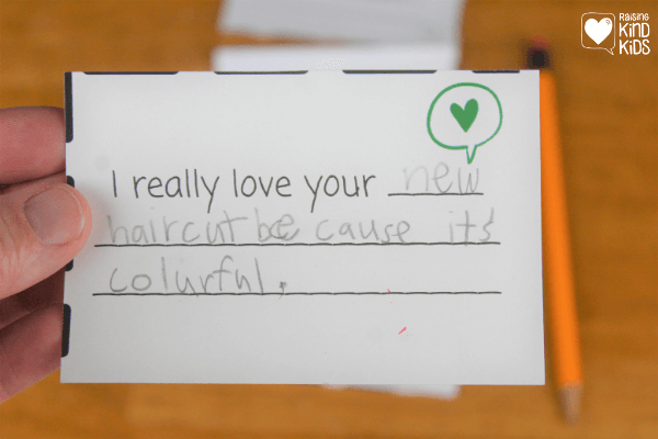 Help kids give compliments to others as a way to spread kindness. If we want kids to speak and act with kindness more often, we need to show them how easy it is to give compliments to others.