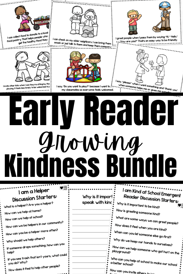 These early readers sets on kindness bundle is designed to help 1st-4th graders understand sel curriculum and character education concepts like volunteering, helping, and speaking with kindness.