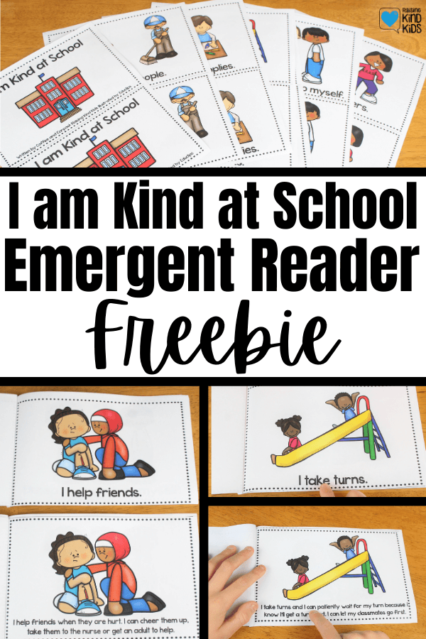 Use this I am Kind emergent reader freebie for kids to teach sel curriculum and character education to students. You can get an easy version of the book with simple vocabulary and sight words or a harder, more advanced version to give students a non-fiction book on kindness.