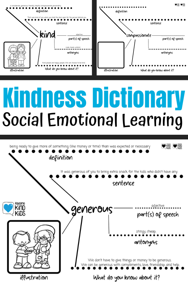 Use this kindness vocabulary activity for sel curriculum that will help you teach characer education in your classrooms. This perfect for 1st grade through 12th grade as students learn what these social emotional words mean. SEL Curriculum needs to be taught in our classrooms and this is an easy way to do it and connect it to literacy standards.