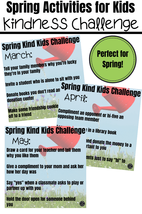 Use this spring kindness challenge for fun kindness activities for kids to do for others during March, April and May.