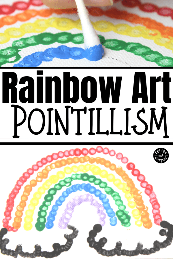 These rainbow art painting for kids with pointillism are fun art projects for kids. They can make rainbow art or flower art with butterflies #natureartproject #natureartpainting #paintingproject #natureart #rainbowpainting #flowerpaintingforkids #rainbowartprojectsforkids #rainbowartforkids