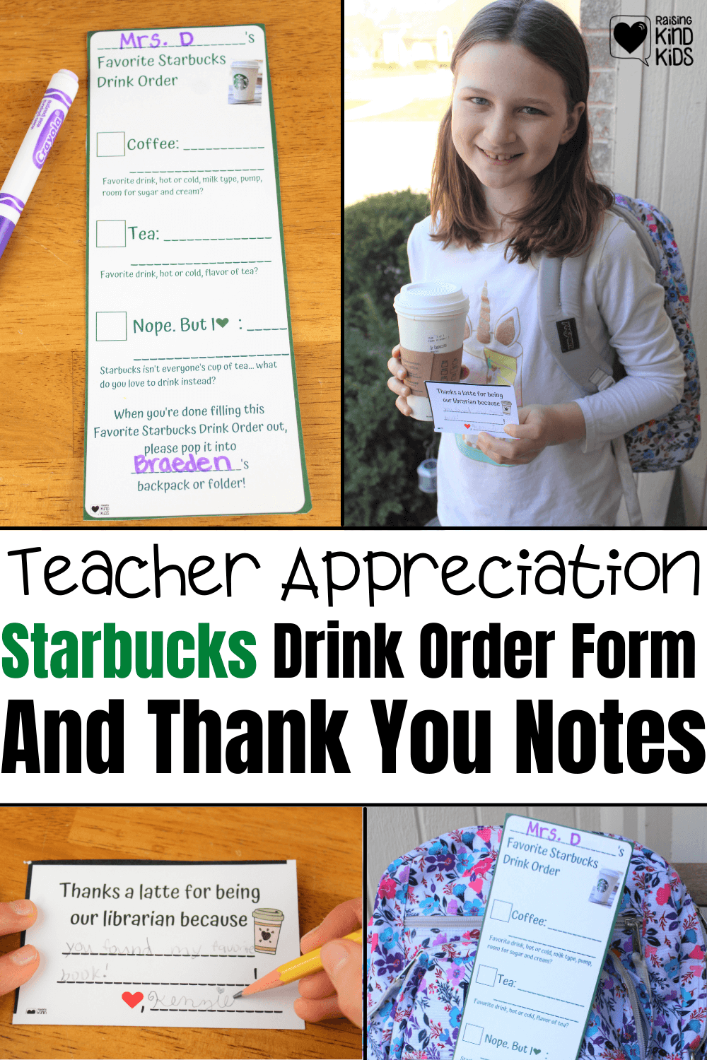 Celebrate Teachers and thank them with this Starbcuks Drink Order Form and Thank you notes to appreciate our school staff.