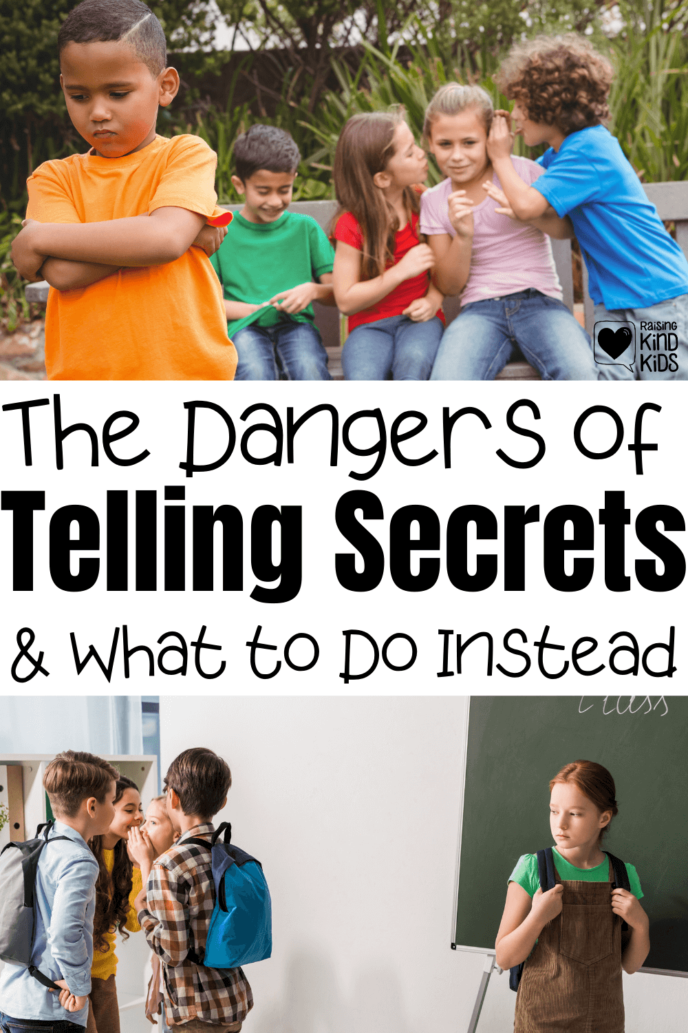 The dangers of telling secrets and the unkindness of telling secrets makes secrets a no go for us. Here's what to teach your kids instead so they can still share private information in a safe and thoughtful way.