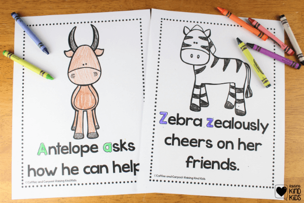 These 26 zoo animals from a-z have 26 different ways to speak and act with kindness with this kindness zoo coloring book.