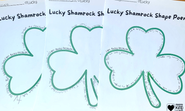 Create an I am Lucky Shamrock Shape Poem to help kids focus on gratitude and why they're already lucky.