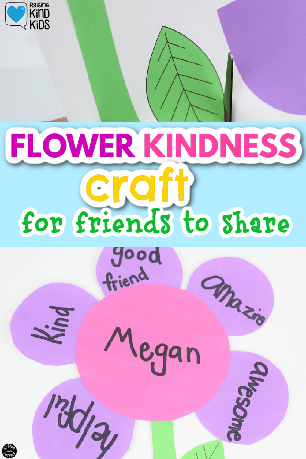This flower craft is a great friendship craft that friends can make for each other to spread kindness. It's a great kindness activity for kid to tell their friends why they appreciate them. #craftideas #kindnessactivitiesforkids #kindnessactivities #flowercrafts #springcrafts #friendscrafts