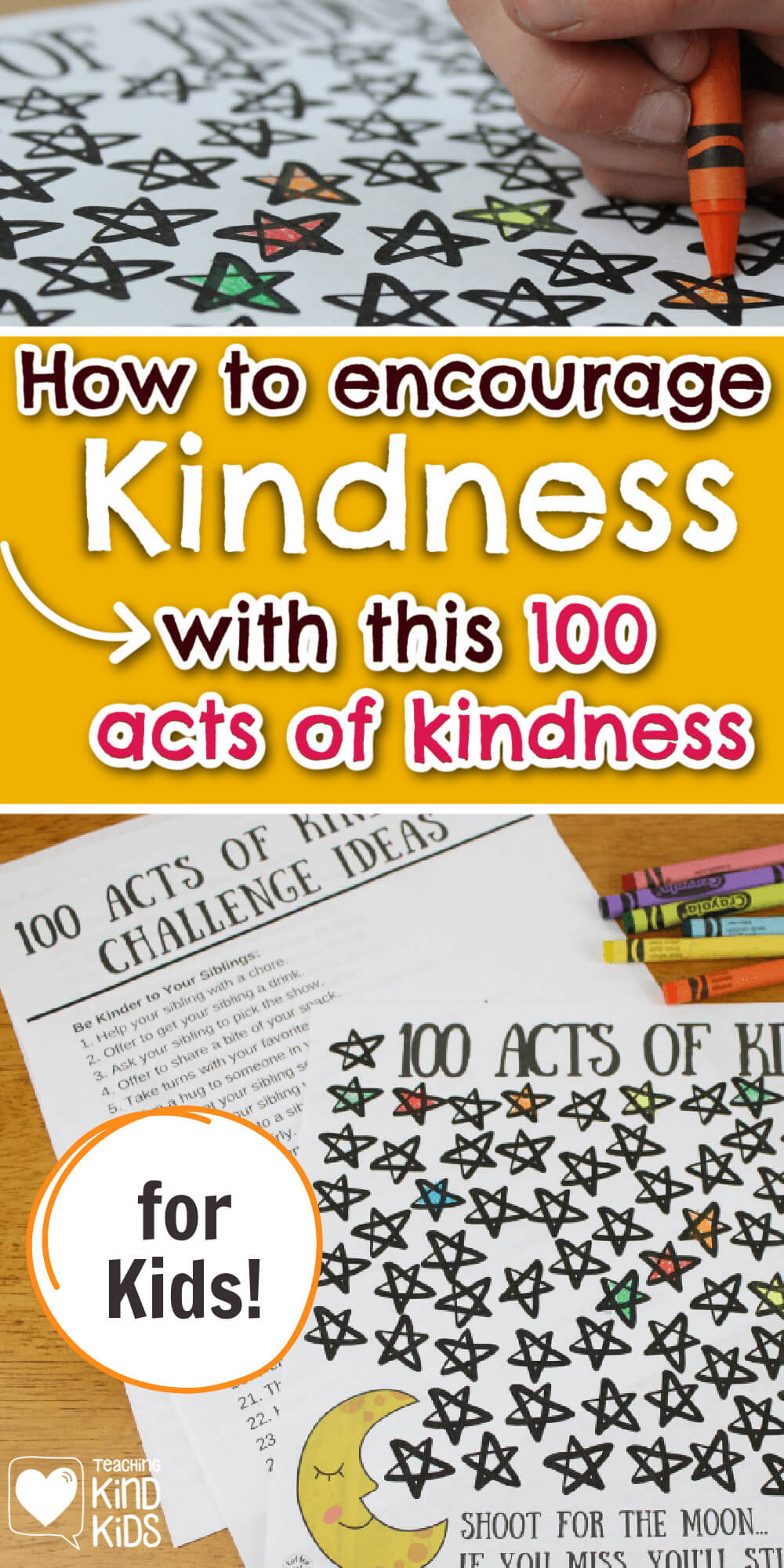 100 Acts of Kindness for kids challenge to encourage kids to be kinder. #kindkids #kindness #kindchallenge #printable #coffeeandcarpool